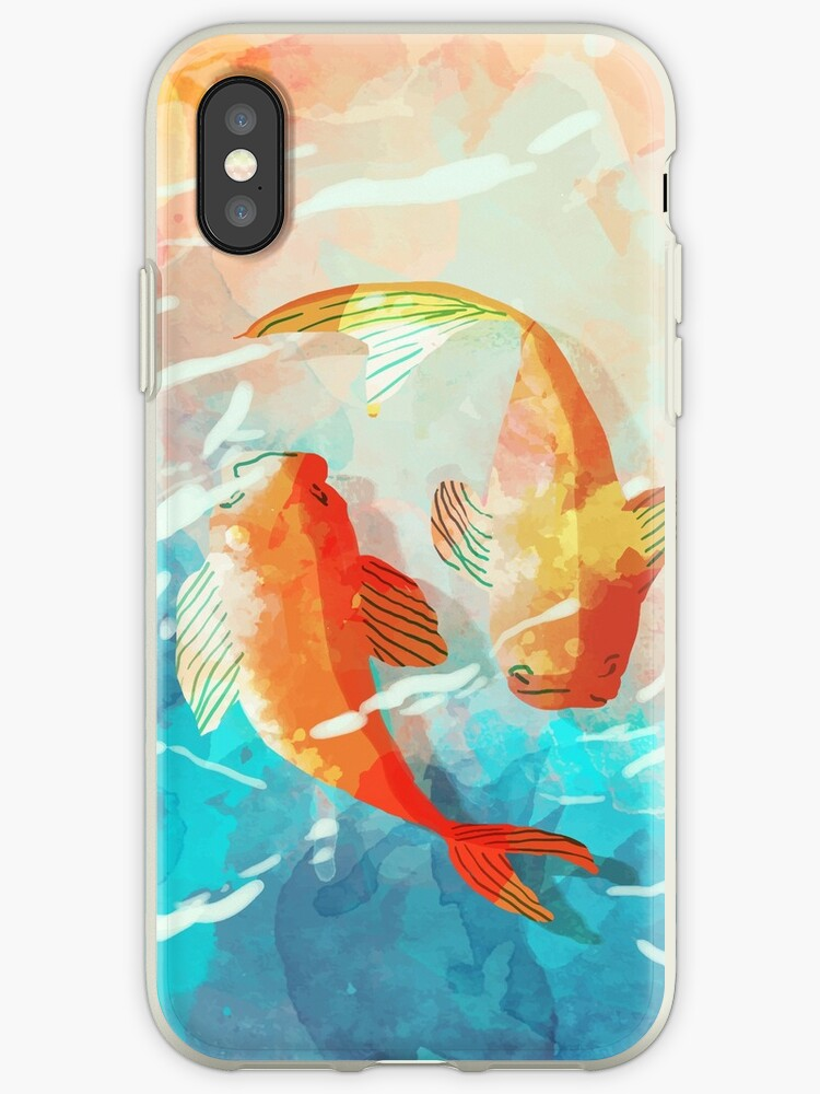 timeless design 28615 0fa9c 'watercolor fish, watercolor koi, japanese fish, watercolor japanese fish,  fish water, fish pattern, fish throw pillow' iPhone Case by sunnyshop