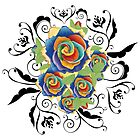 Abstract Rainbow Roses 5 by AnnArtshock