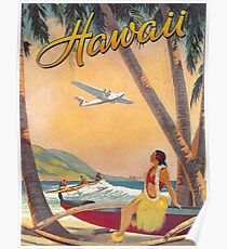 Hula girl is looking the airplane at Hawaii beach Poster