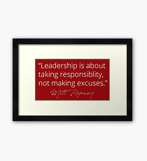 Mitt Romney: Leadership Red Framed Print