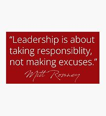 Mitt Romney: Leadership Red Photographic Print