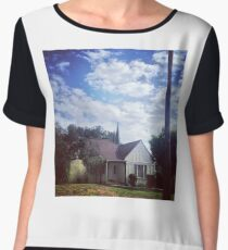 Cottage with Clouds Chiffon Top