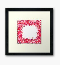 Pink Star Frame on White Background. Red Starry Pattern Framed Print