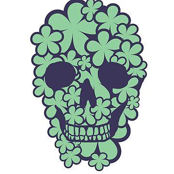 Flower Skull (Green/Blue) by DiseasedBones