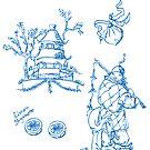 Toile de jouy, Limon Bergamotto, Chinoiserie, pattern Design von einechtervogel