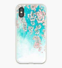 Rosa blauer japanischer Cherry Blossom Flowers Tree iPhone-Hülle & Cover