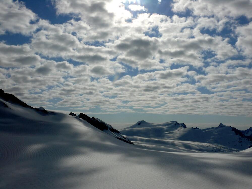 Spencer Glacier Clouds and Snow by Liz Wear