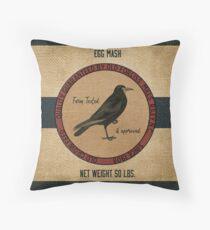 Old Crow Egg Mash Vintage Feed Sack Throw Pillow