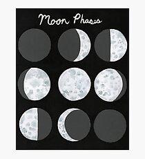 Moon Phases Chart - Dark Photographic Print