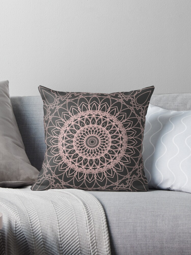 Quot Mandala Gray And Blush Pink Quot Throw Pillows By Xiari