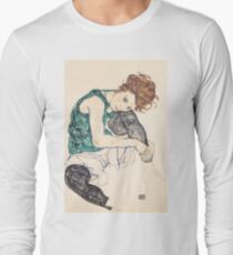 "Egon Schiele ""Seated Woman with Bent Knee"", 1917"" Long Sleeve T-Shirt"