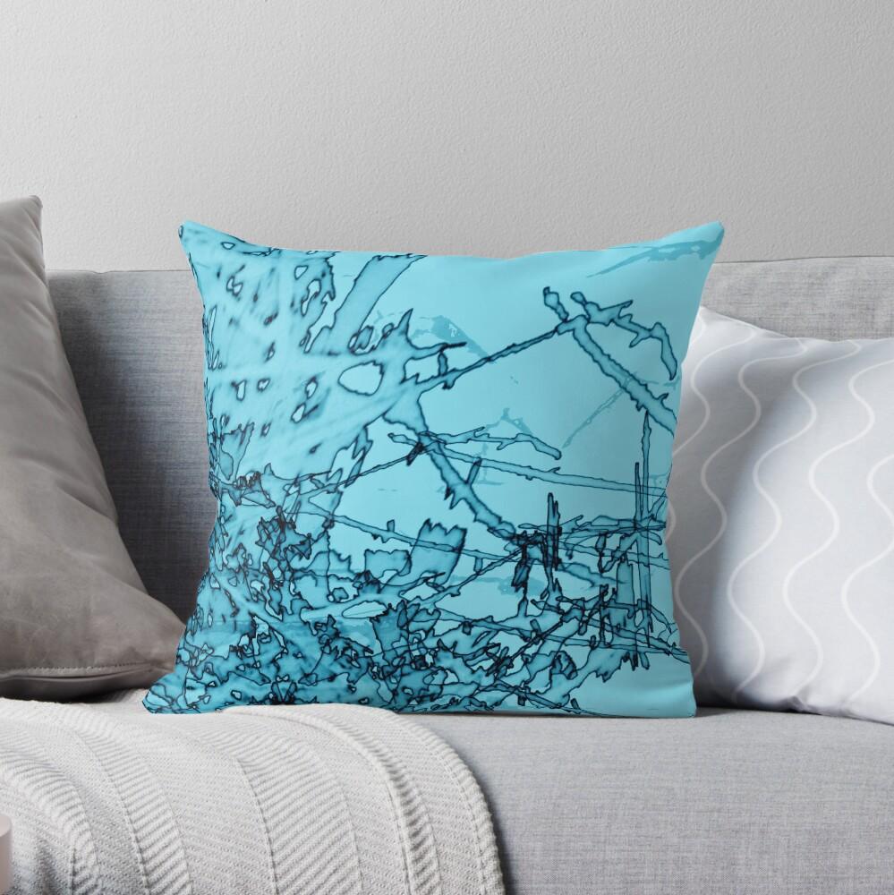 Edgy Turquoise Throw Pillow
