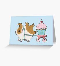 Guinea-pig with Cherry Cupcake Greeting Card