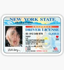 LIL PEEP NEW YORK DRIVER'S LICENSE DESIGN Sticker
