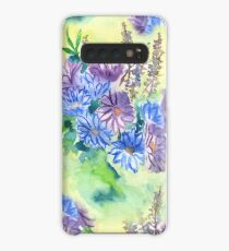 Watercolor Hand-Painted Purple Blue Daisies Daisy Flowers Case/Skin for Samsung Galaxy