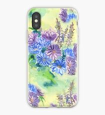 Watercolor Hand-Painted Purple Blue Daisies Daisy Flowers iPhone Case