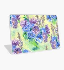 Watercolor Hand-Painted Purple Blue Daisies Daisy Flowers Laptop Skin