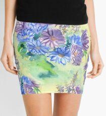 Watercolor Hand-Painted Purple Blue Daisies Daisy Flowers Mini Skirt