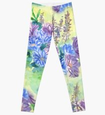 Watercolor Hand-Painted Purple Blue Daisies Daisy Flowers Leggings