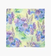 Watercolor Hand-Painted Purple Blue Daisies Daisy Flowers Scarf