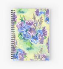 Watercolor Hand-Painted Purple Blue Daisies Daisy Flowers Spiral Notebook