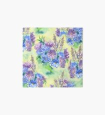 Watercolor Hand-Painted Purple Blue Daisies Daisy Flowers Art Board