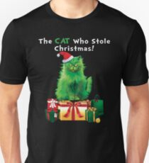 Green Grinch Cat Who Stole Christmas Funny  T-Shirt