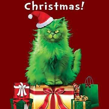 Green Persian Cat Who Stole Christmas Funny  by TrendyTees12