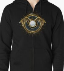 Mechanical Dragon Wings with a Lens ( Steampunk wings ) Zipped Hoodie