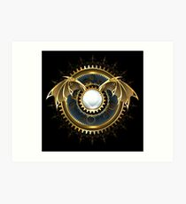 Mechanical Dragon Wings with a Lens ( Steampunk wings ) Art Print