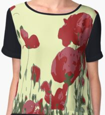 Abstract Poppy Field Of Remembrance  Chiffon Top