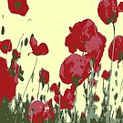 Abstract Poppy Field Of Remembrance  by taiche
