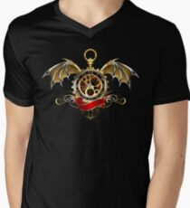 Clock with Dragon Wings ( Steampunk wings ) Men's V-Neck T-Shirt