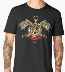 Clock with Dragon Wings ( Steampunk wings ) Men's Premium T-Shirt
