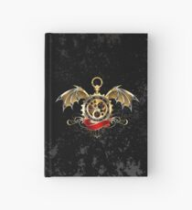 Clock with Dragon Wings ( Steampunk wings ) Hardcover Journal