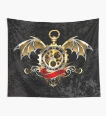 Clock with Dragon Wings ( Steampunk wings ) Wall Tapestry