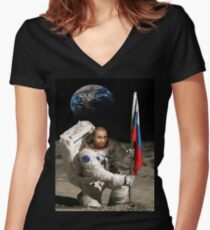 Putin in Space Women's Fitted V-Neck T-Shirt