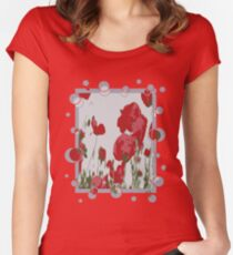 Poppy Field Of Remembrance Vector Women's Fitted Scoop T-Shirt