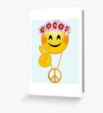 Emoji, Peace Sign. Hippie Flowers, Daisy Wreath Greeting Card