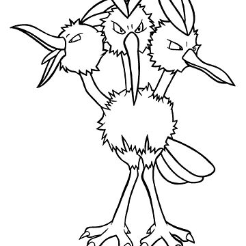 Dodrio Lineart Drawing by ArkainStudios