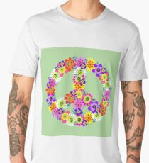 Peace Sign Floral Men's Premium T-Shirt