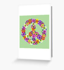 Peace Sign Floral Greeting Card