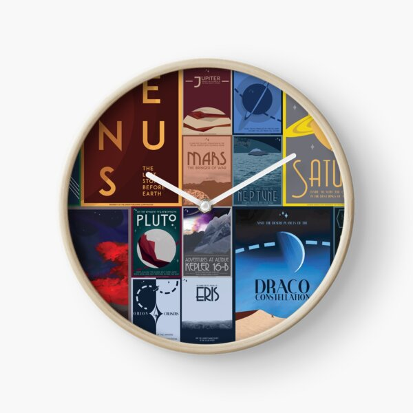Art Deco Space Travel Posters Clock