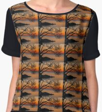 Colorful Quiet Sunrise on the Lake  Women's Chiffon Top