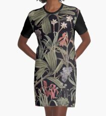 State Library Victoria Dark Botanical Stravaganza Graphic T-Shirt Dress