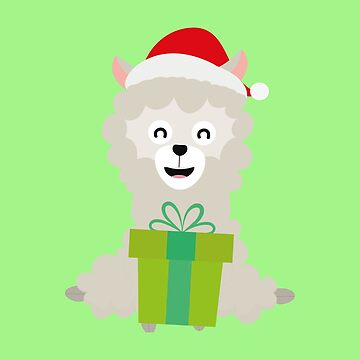 Santa Alpaca with Present holiday-Design by ilovecotton