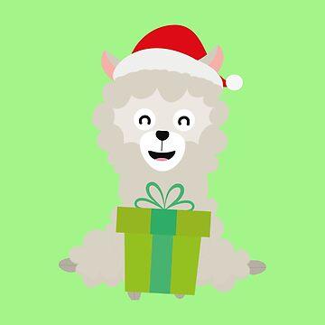 Santa Alpaca with Present holiday-Design by ilovecotton