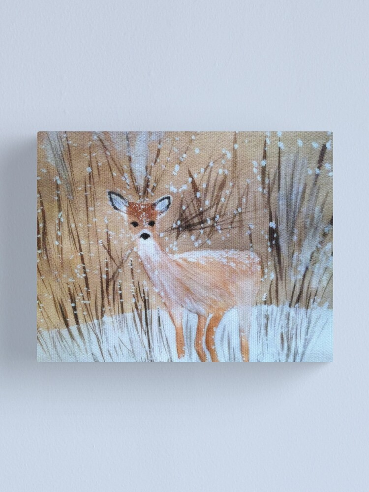 Alternate view of Deer in the Snow Canvas Print