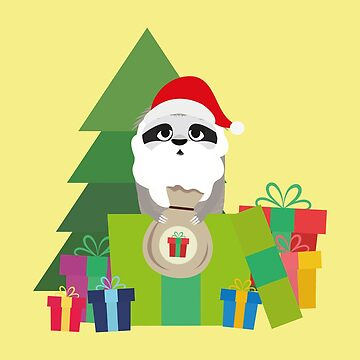 Sloth Santa with Tree and Presents nature-Design by ilovecotton