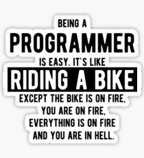 Pegatina Ser un programador es fácil. Es como andar en bicicleta - Funny Programming Jokes - Light Color